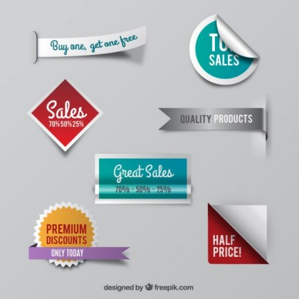 Variety of Sale Badges Free Vector
