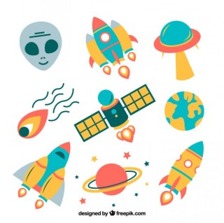 Variety of Space Icons Free Vector