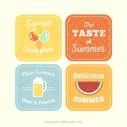 Variety of Summer Labels Free Vector