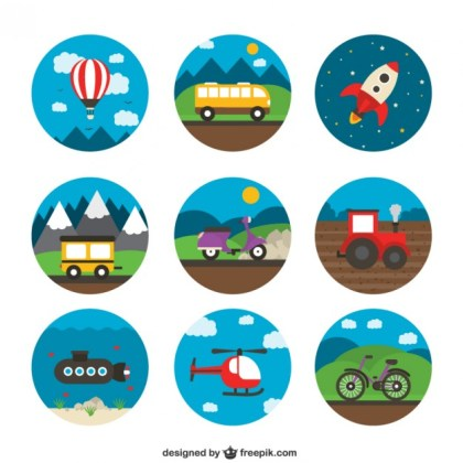 Variety of Transport Icons Free Vector