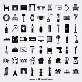 Various Sketch Elements of Material Lifestyle Elements Free Vector