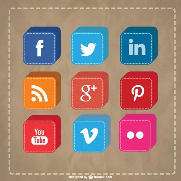 Vector 3D Social Media Icons Free Vector