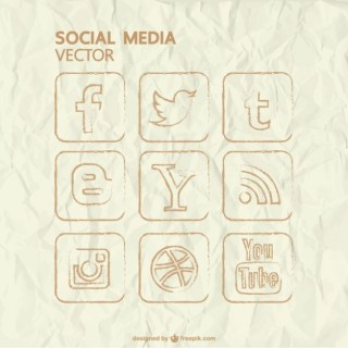 Vector Hand Drawn Social Media Icons Free Vector