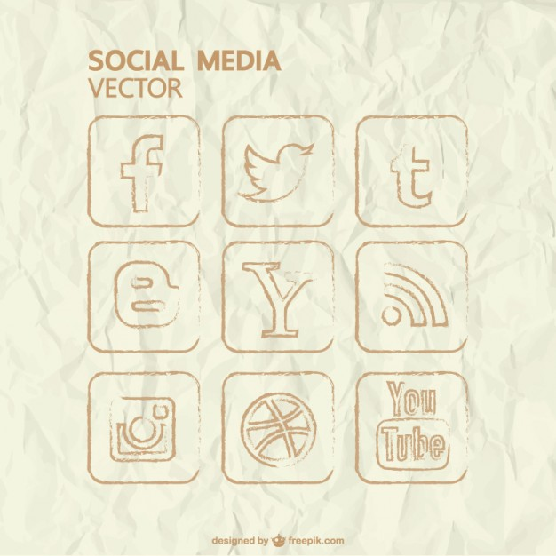 Vector Hand Drawn Social Media Icons Free Vector