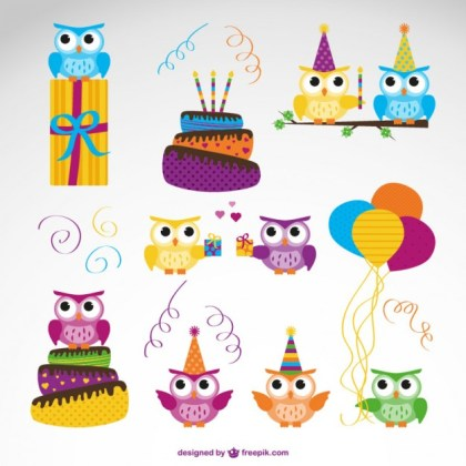 Vector Owl Birthday Free Vector