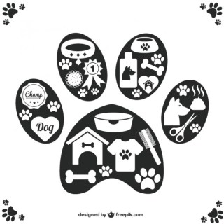 Vector Pet Icons Paw Design Free Vector