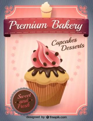 Vector Pink Cupcake Free Vector