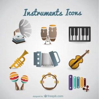 Vector Retro Music Instruments Free Vector