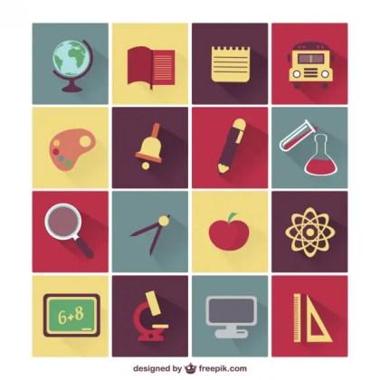 Vector School Education Icons Free Vector