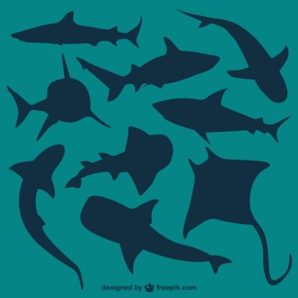 Vector Sharks Silhouettes Free Vector