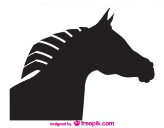 Vector Silhouette Horse Head Design Free Vector