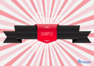 Vintage Black Ribbon with Sample Label Free Vector