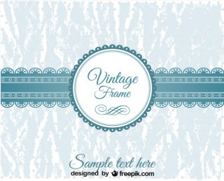 Vintage Blue Lace Banner and Badge Design Free Vector