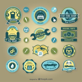 Vintage Car Service Badges Free Vector