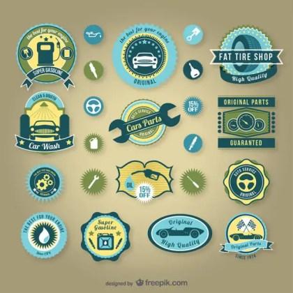 Vintage Car Service Badges Free Vector