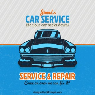 Vintage Car Service Sign Free Vector
