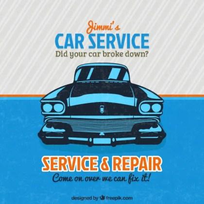 Vintage Car Service Sign Free Vector