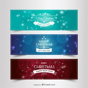 Vintage Christmas and New Year Banners Free Vector