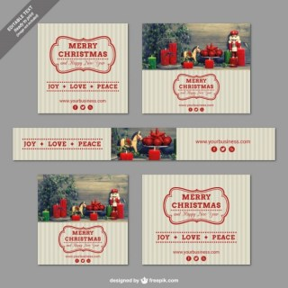 Vintage Christmas Banners Free Vector