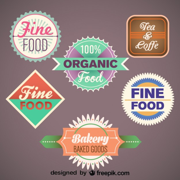 Vintage Collection of Food Labels and Badges Free Vector