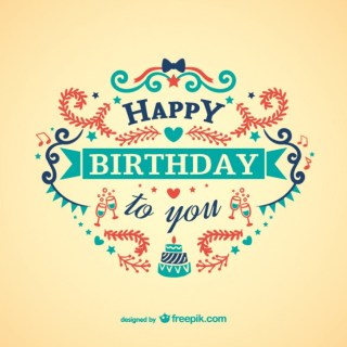 Vintage Colorful Birthday Card Free Vector