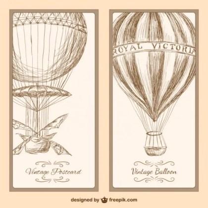 Vintage Hot Air Balloon Postcard Free Vector