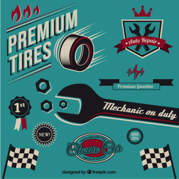 Vintage Mechanic Elements Free Vector