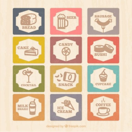 Vintage Menu Card with Food Icons Free Vector
