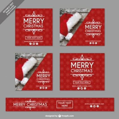 Vintage Merry Christmas Banners Free Vector