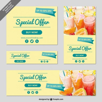 Vintage Offer Banners Free Vector