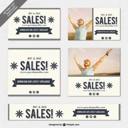 Vintage Sales Banner Templates Free Vector