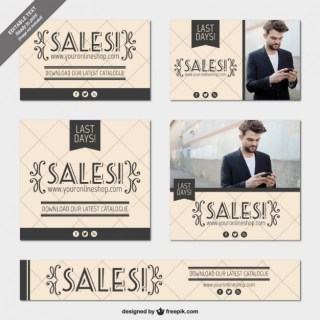 Vintage Sales Banners Free Vector