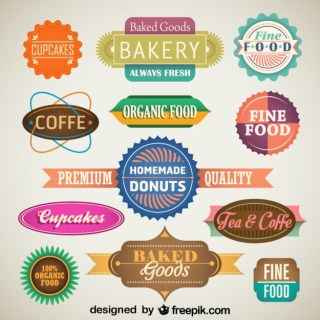 Vintage Set of Food Labels and Badges Free Vector