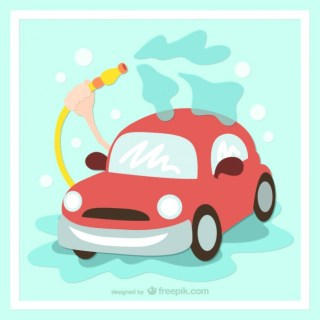 Washing Your Car Cartoon Free Vector
