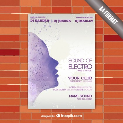 Watercolor Silhouette Face Poster Template Free Vector
