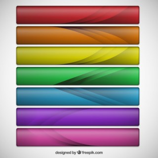 Web Banners in The Rainbow Colors Free Vector