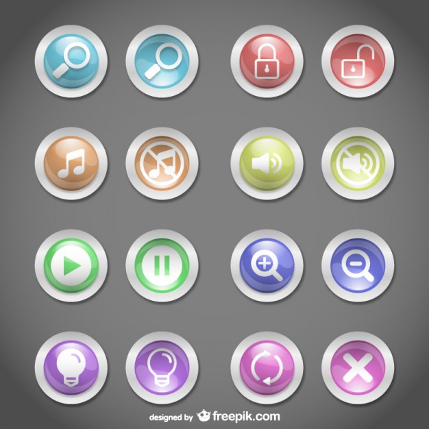 Web Buttons Round Design Free Vector