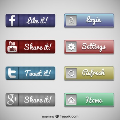 Web Buttons Social Media Free Vector