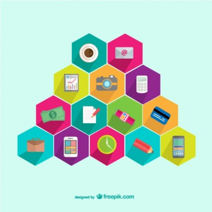 Web Elements Honeycomb Template Free Vector