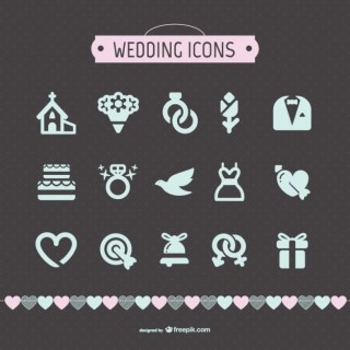 Wedding Icons Collection Free Vector