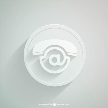 White Contact Icon Free Vector