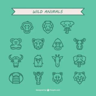 Wild Animals Icon Pack Free Vector
