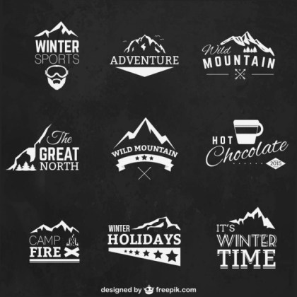Winter Sports Badges Free Vector