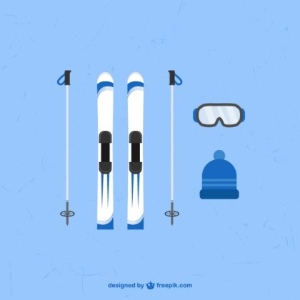 Winter Sports Elements Free Vector