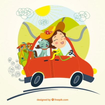 Woman Traveling with Her Cat Free Vector