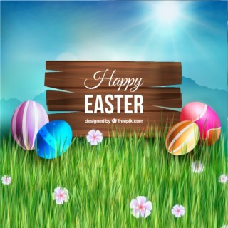 Wooden Sign and Easter Eggs Free Vector