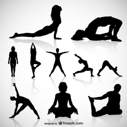 Yoga Silhouettes Vector. Free Vector