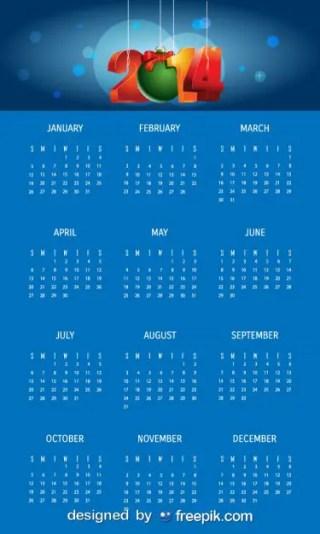 2014 Blue Calendar with Christmas Ball Free Vector