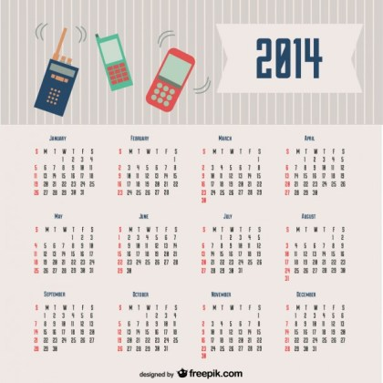 2014 Calendar Communication Design Free Vector