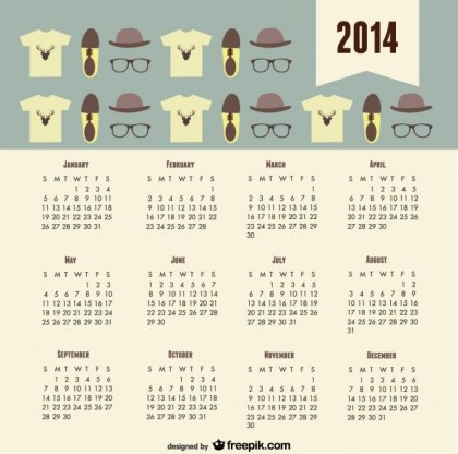 2014 Calendar Fashion Trend Hipster Look Free Vector